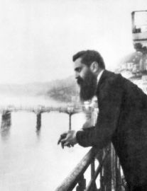 Zionism Founder Theodor Herzl Leaning on Railing