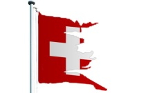 swiss flag destroyed